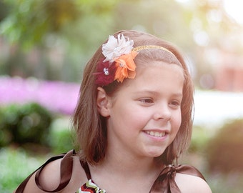 Autumn Trio Satin Flower Headband - Ivory Orange Maroon Mulberry Girls Gold Headband - Fall Hair Bow - Gorgeous Baby Girl Sparkle Hairbow