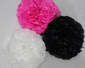 Tissue Paper Pom Poms // Birthday // Baby Shower // Decorations // Pink and black // Minnie Mouse