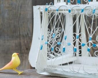 Vintage Large Victorian Birdcage - Wood / Wire