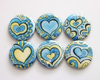 Heart Magnets, Magnets, Abstract Design, Button magnets, Kitchen Magnets, Locker Magnets, magnet set, Valentines Day (3449)