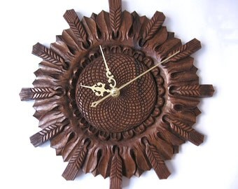 Clock, Wall hanging, Sunflower, Wood carving, houseware, gift , to be ordered