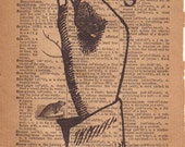 Letter S, Sign Language Typography Print, 1800's Art Illustration & Dictionary Page, ASL Initial
