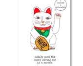 Funny dirty dancing birthday card . lucky waving cat . greeting cards for best friend girlfriend . 80s humor
