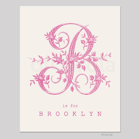 Items similar to monogram initial letter print wall art girl home room decor personalized old - Initial letter wall decor ...