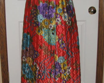 FLOWER POWER // Silky MAXI Long Skirt Bright Floral High Waisted Size 10 Puffy Button Purple Red Orange Blue Green Yellow That 70's Show