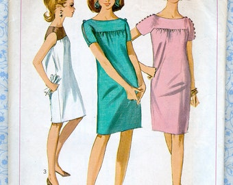 Vintage 1960s Simplicity 7123 Misses Sheath Dress Size 8 Bust 30 Summer Womens Sewing Patterns, Complete