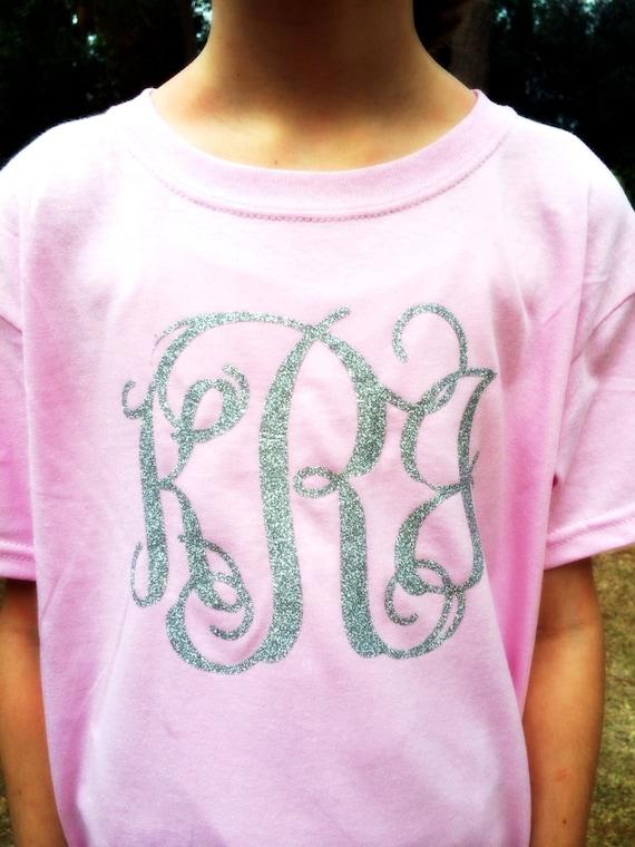 Short Sleeve Glitter Monogram T Shirt By Poshprincessbows1