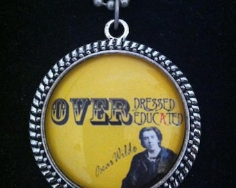Bookish necklace: Oscar Wilde - Overdressed & Overeducated