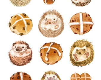 Fine Art Print - Hedgehogs and Hot Cross Buns Illustration