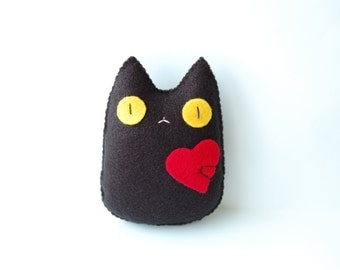 You got my heart Cute black cat handmade plush doll