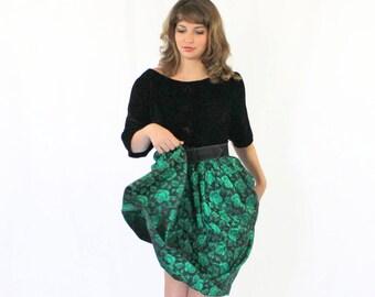 60s Emerald Dress.  Black  Green Dress.  Velvet  Dress.  Brocade Dress. Holiday Dress. Mad Men Fashion. Wedding.