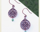 Rococo Lily Earrings in Fern Green