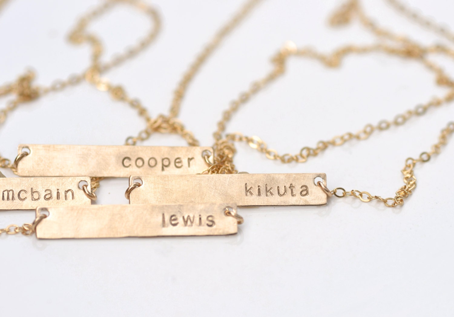 Personalized bar necklace rose gold sterling silver or by for Rose gold personalized jewelry