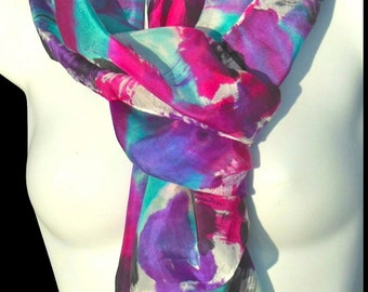 "Bold Strokes/ SILK SCARF for Women.  Hand Painted Silk Scarf by NYC artist Joan Reese / 100% Silk/14""x72"""