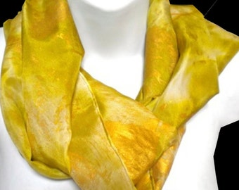 "Emperor Gold SILK SCARF for Women. Silk Scarf Hand Painted by New York City artist Joan Reese/ 100% Silk/ 11""x60"""