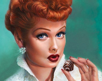 I Love Lucy & Chocolate - portrait painting of Lucille Ball - Fine Art Print