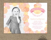 Bubbles and Brunch Invitation - Bubble Birthday Party Invite - Pop on Over - First Birthday or ANY Age & Any Text - ANY colors - Printable