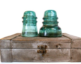 Glass Insulators Hemingray No 40 and No 16, Hemingray Insulator, Blue Glass Insulators, Antique Glass Insulator, Antique Blue Glass