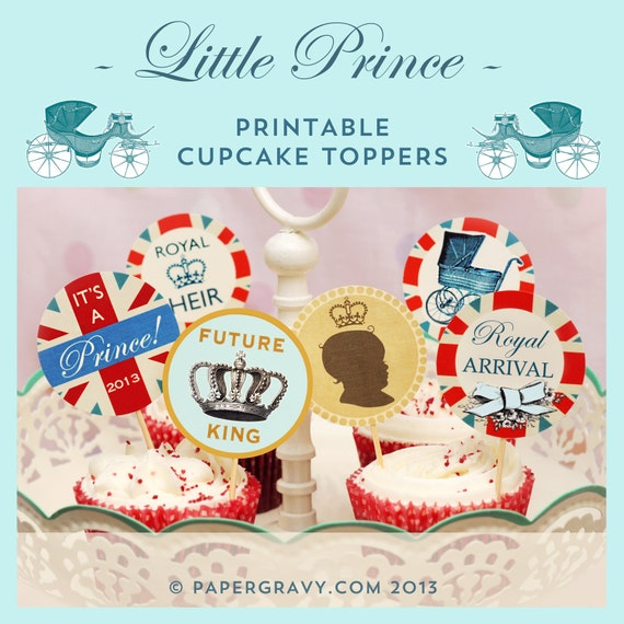 Printable Royal Baby Boy Prince Cupcake Toppers