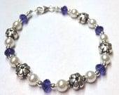 Beaded Jewelry, Purple Jewelry, Tanzanite Bracelet, Sterling Silver Flower Bracelet, Purple Swarovski Crystal Bracelet, Crystal Pearl
