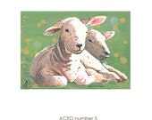 ACEO original of lambs, Artists trading card