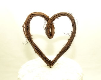 Heart Cake Topper - Rustic - Wedding Cake Topper - Grapevine - Loop Style
