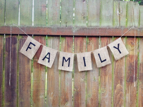 Family Burlap Garland Bunting Banner Home Decor