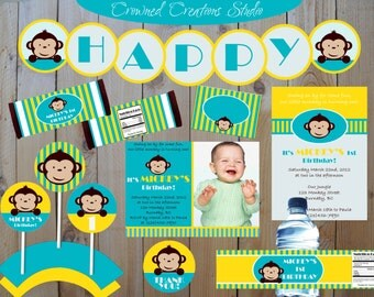 Mod Monkey Boy's Digital Birthday Party Package - Printable Banner, Cupcake Toppers, Candy Bar Wrappers, Water Bottle Labels, Favour Tags