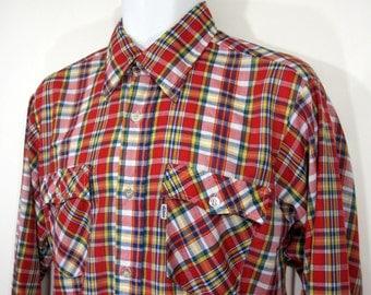 Vintage Levi's Western Cut Plaid Shirt Sz.L 1970's