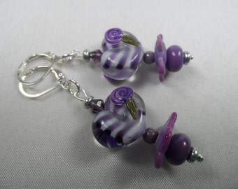 Purple Lampwork Heart Motif Leverback Earrings - 2 Inch Length in Silvertone
