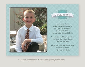 LDS Baptism Invitation Boy: Custom Choose the Right Announcement with Photo