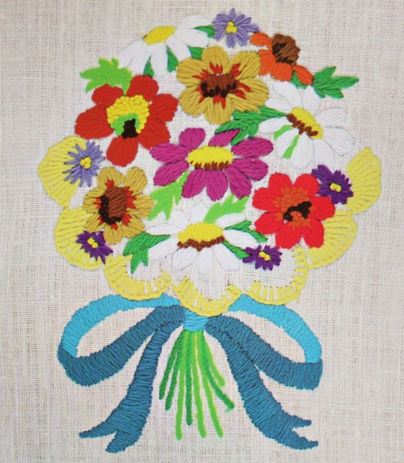 70s Crewel Embroidery Kit Flower Bouquet By OrangeDogVintage