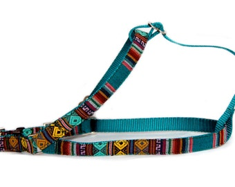 Small dog harness large dog harness & dog leash Southwestern emerald boy dog harness Aztec Navajo step in harness Tribal male pet harness