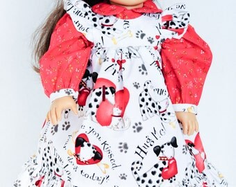 18 Inch Doll Clothes, Pinafore Dress, Dalmatians, Hearts, Red, White, Valentine's Day