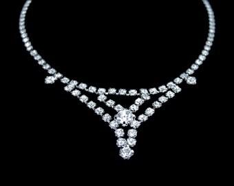 Vintage Deco Prong Set Rhinestone Necklace Choker