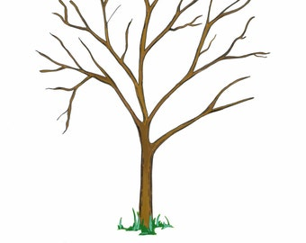 Naming day or Christening fingerprint tree guest book