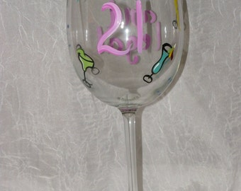 """Happy Birthday """"21 and Legal!"""" Hand Painted Wine Glasses"""