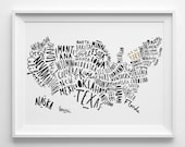 A3 USA Map print - United States Map - Typography Map - Map poster - USA Map prints