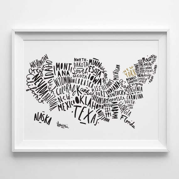 us map poster etsy - 28 images - items similar to united states map ...
