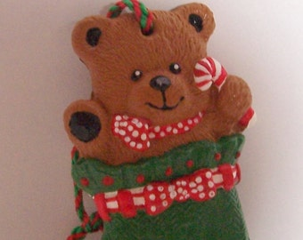 Teddy Bear in Green Stocking - ooak hand painted detailed ornament
