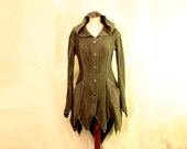 Made to Order: Pointy Hem Faery Elven Fantasy Tauriel Fleece Spring Fall Coat with Pipings and Pixie Hood, Custom size and Color