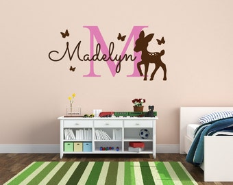 Personalized Name Decal Deer With Butterfly Nursery Decor - Kids Room Teen Name Vinyl Wall Decal