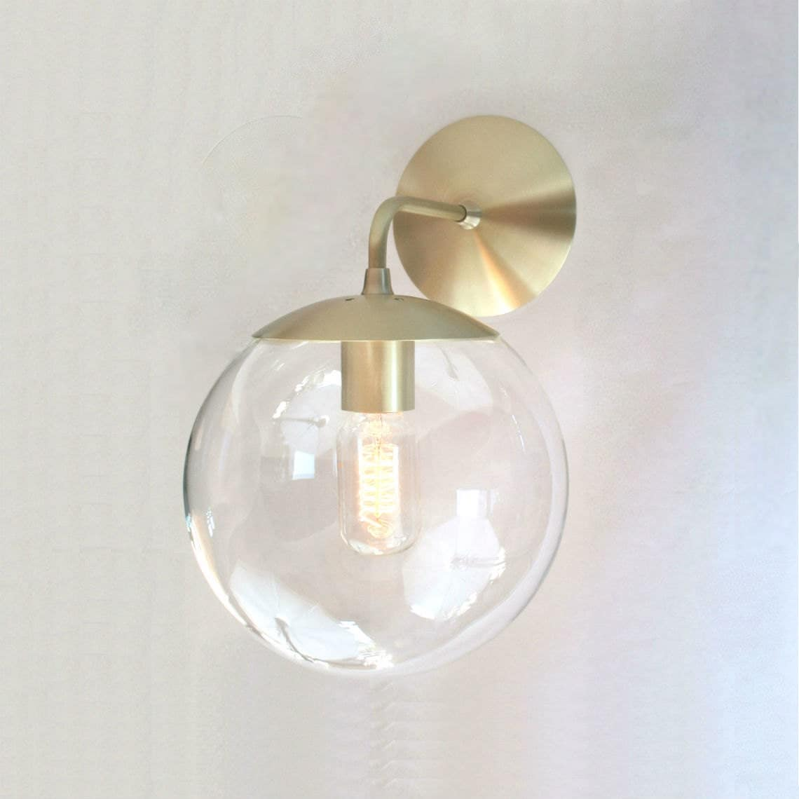 Wall Sconces With Clear Glass : Mid Century Modern Wall Sconce Light 8 Clear Glass Globe