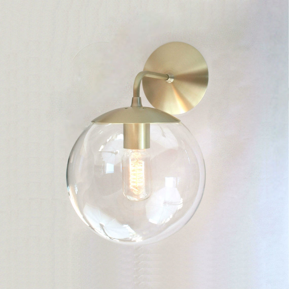Mid century modern wall sconce light 8 clear glass globe for Contemporary bathroom wall sconces