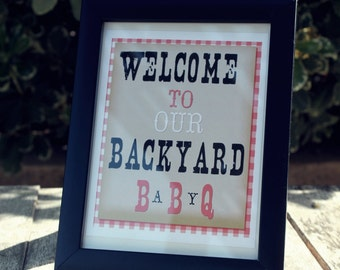 Welcome Sign Red Baby-Q printable Instant download-By Sweet Willow Designs
