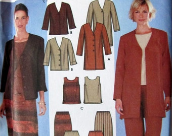 Simplicity 7099, Misses  Size 8 to 14, Jacket in 2 Lengths, Top, Pants and Skirt Sewing Pattern