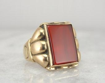 Retro Era Mens Ring with Bright Red Carnelian Gem Center HK143Y-P