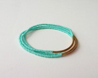 Turquoise and gold bracelet, seed bead bracelet, aqua bracelet,stretchy noodle seed bead bracelet, seed bead bracelet, minimalist, gift