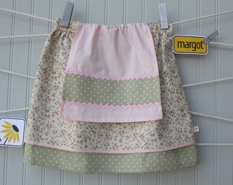 girl's apron skirt, pink apron skirt, sage green pink, shabby chic skirt, girls market skirt, double layer,cottage chic,ready to ship size 6
