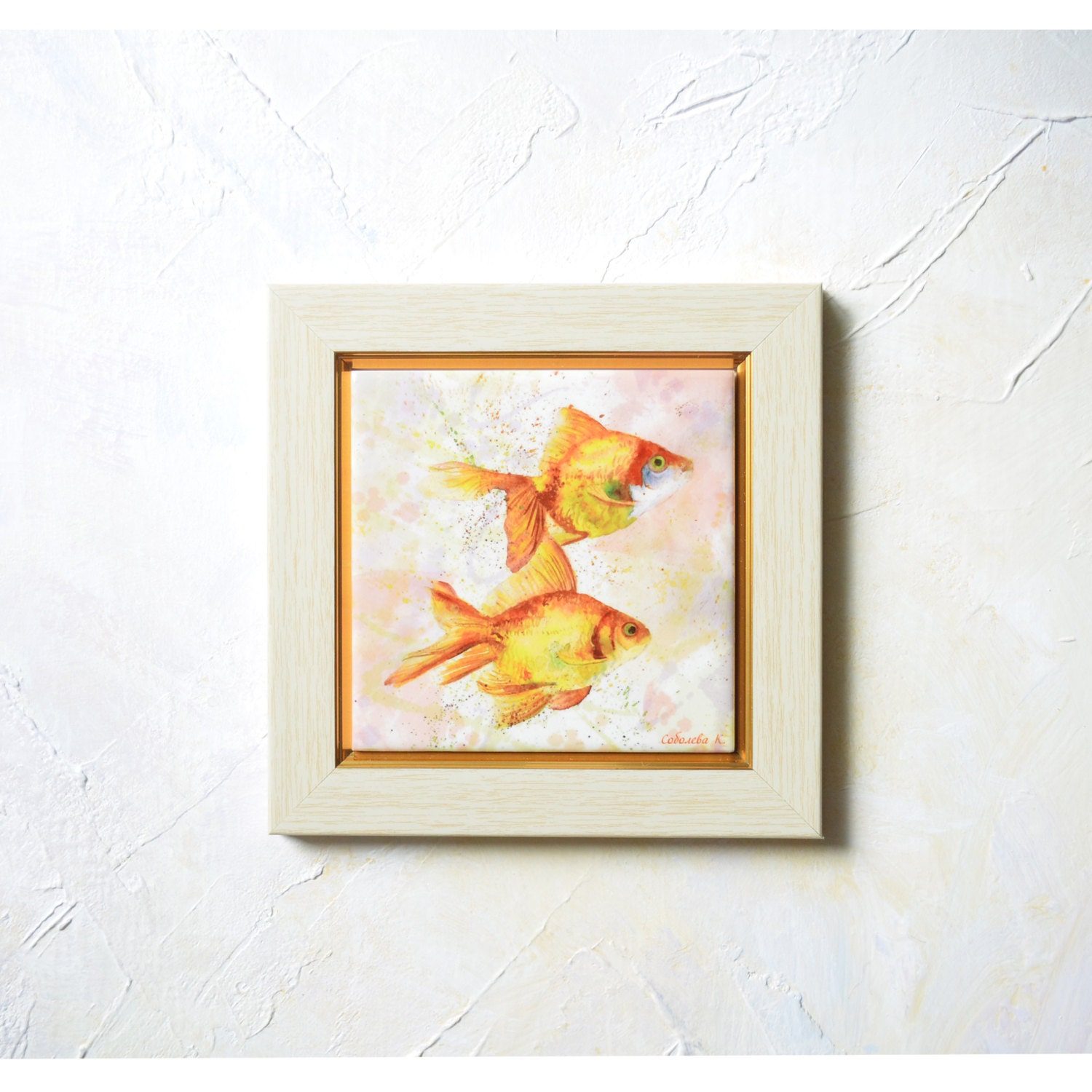 Gold fishes painting watercolour ceramic tile wall art hand - Painting ceramic tile walls ...